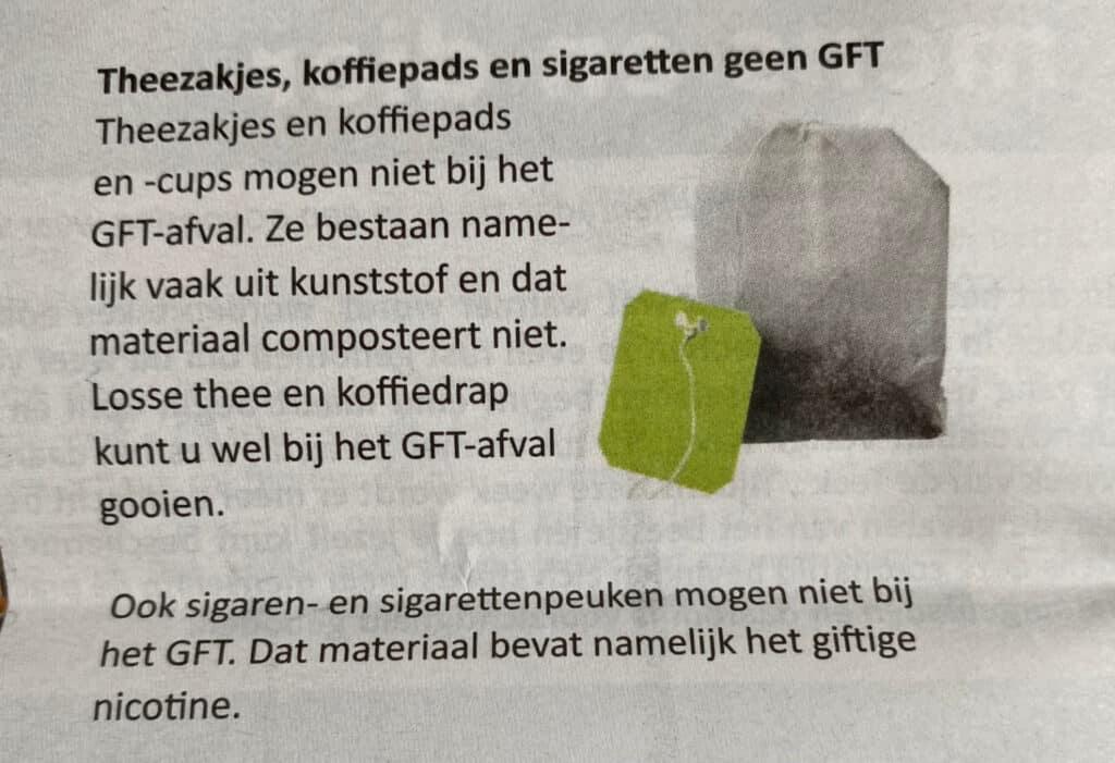 Mag theezakje bij GFT afval?